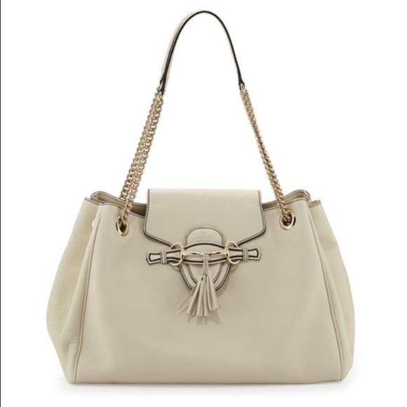 Gucci Women\u0027s White Emily Leather Shoulder Bag NWT