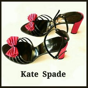 Kate Spade Black Strappy Heels & Pink Bow