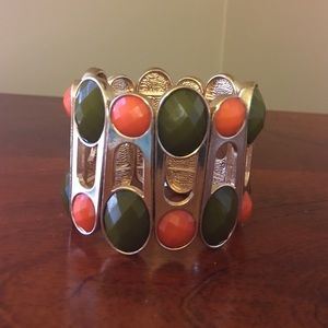Jewelry - Olive green and orange wide band stretch bracelet