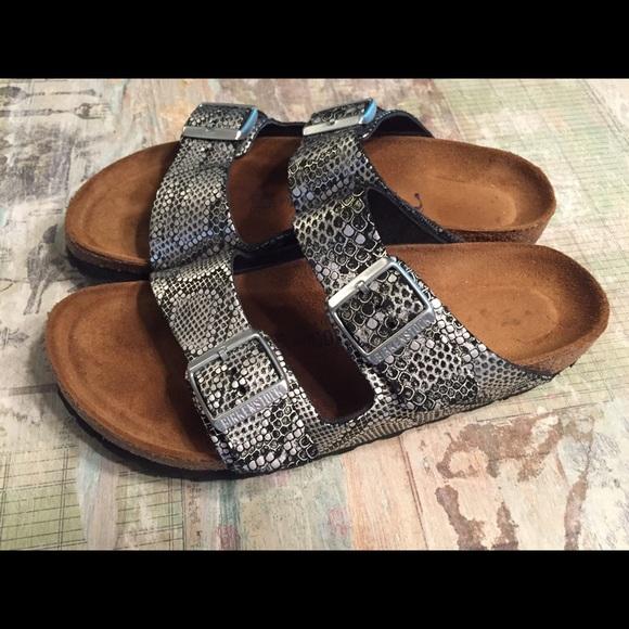 f81c9e148760 Birkenstock Shoes - Birkenstock Snakeskin Silver Arizona Sandals SZ 40