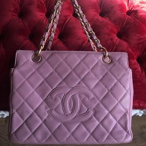 Vintage Chanel PST tore bag baby pink