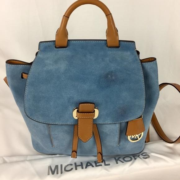 de401e55666e ... ireland michael kors romy medium suede leather backpack da5f5 b91b8