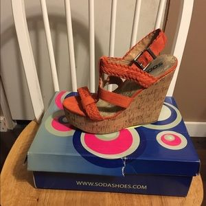 Orange wedge sandals