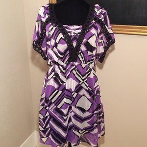 Purple & black sheer tunic. Large.
