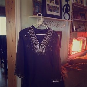 Aviana Tops - Peasant Top with Embroidered and sequins  neckline