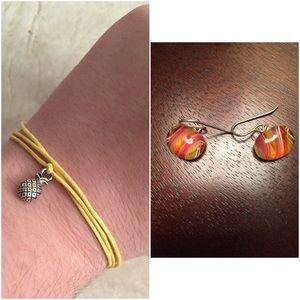 Jewelry - 🍍New: Pineapple Bracelet + Candy Stripe Earrings