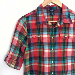 Chaps Other - Chaps girls/womens plaid roll sleeve button up top