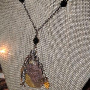 Citrine and Quartz Mermaid Necklace