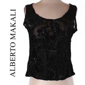 Alberto Makali Tops - Alberto Makali Black Lace Sleeveless Blouse