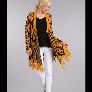 ✳️ Knit Patterned Cardigan with Fringed Detailing