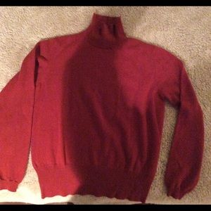 Malo Sweaters - Maroon Cashmere Turtle Neck, Size 42