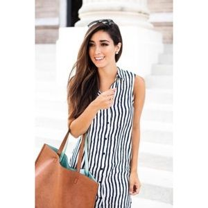 wayf Dresses & Skirts - WAYF Navy and white striped  button up dress