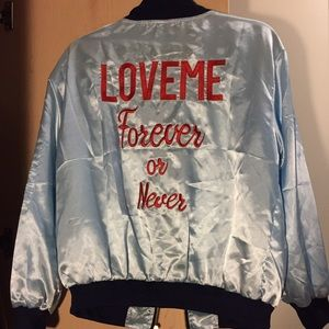 Silky embroidered bomber jacket