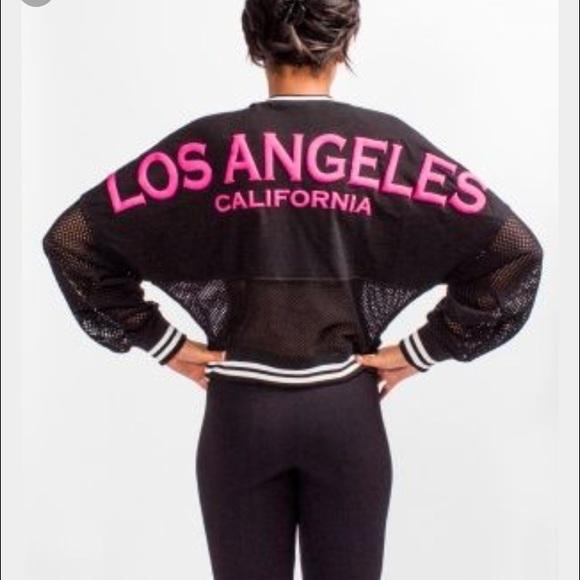 7e9d96ab7f43 Kitson Tops - Kitson Los Angeles black   pink mesh spirit jersey