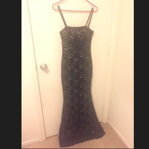 Black/nude lace gown