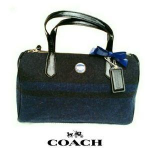 Coach Handbags - 💕NEW💕COACH CHAR & BLUE SIG. STRIPE  WOOL SATCHL