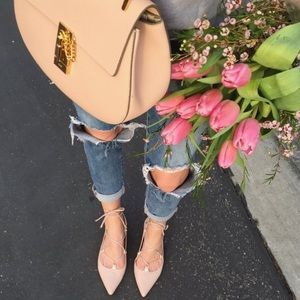 Faux Suede Lace Up Flats in Blush Pink