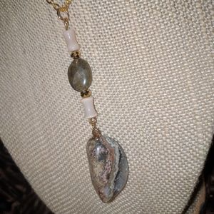 Jasper, Mother of Pearl, and Labradorite Necklace