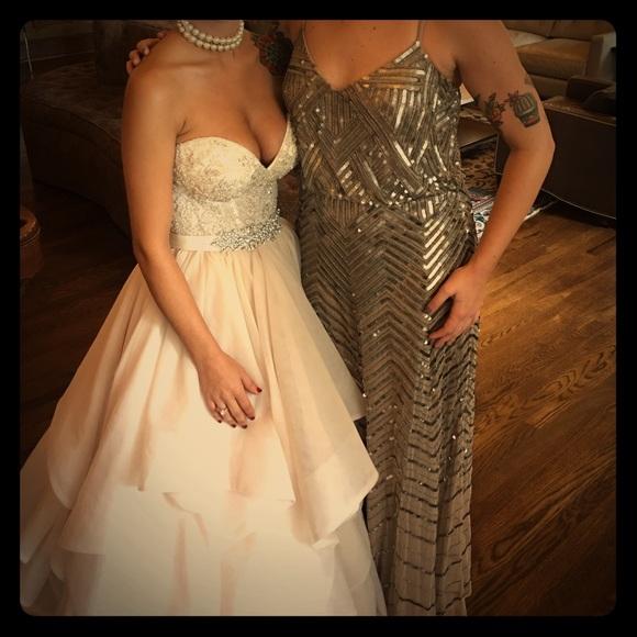 Adrianna Papell Dresses | Chevron Beaded Blouson Gown | Poshmark