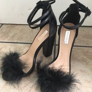 Topshop Rebecca Feather Double Ankle Strap