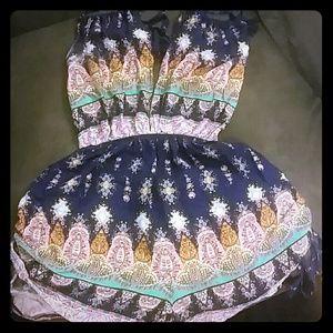 Gorgeous navy blue backless tribal print ROMPER