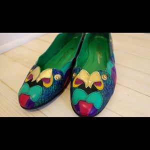 Beverly Feldman Shoes - Vintage 80's Beverly Feldman Peacock Flats
