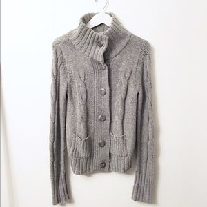 Grey Knitted High Neck Sweater