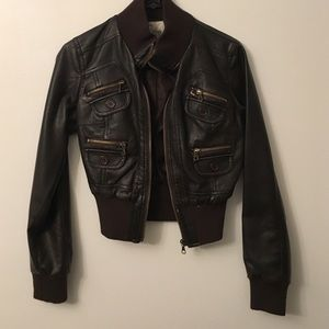 Gorgeous Dark Brown Faux Leather Jacket