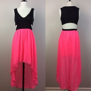 NWT Bebe black and neon pink cut out dress
