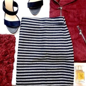 J. Crew Factory Navy Striped Pencil Skirt