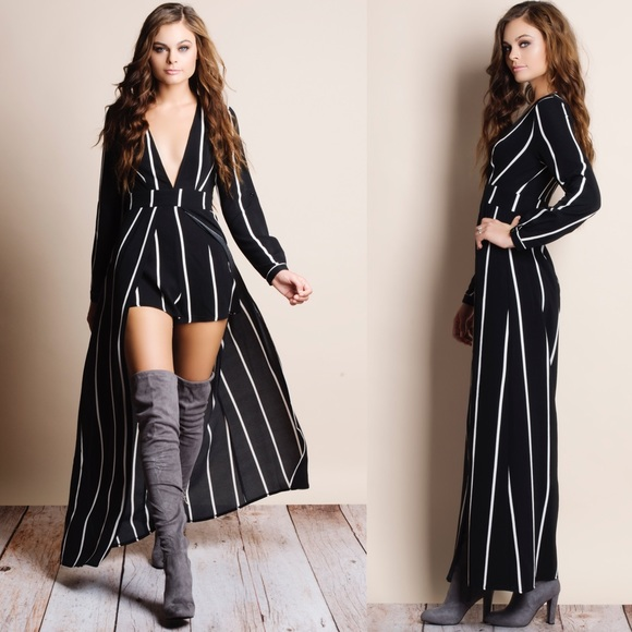 "Bare Anthology Dresses & Skirts - 1HRSALE ""Homage"" Striped Long Sleeve Maxi Romper"