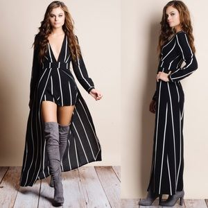 "1HRSALE ""Homage"" Striped Long Sleeve Maxi Romper"