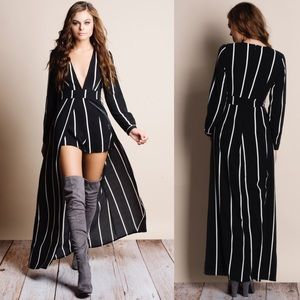 "Bare Anthology Dresses - 1HRSALE ""Homage"" Striped Long Sleeve Maxi Romper"