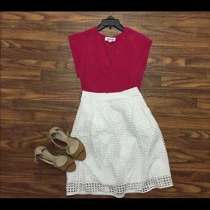 LOFT White Eyelet Skirt