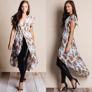 """Muse"" Printed Button Down Maxi Top"