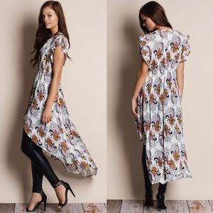"""Bare Anthology Tops - """"Muse"""" Printed Button Down Maxi Top"""