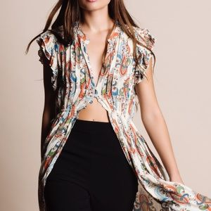 "Bare Anthology Tops - ""Muse"" Printed Button Down Maxi Top"