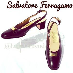 Salvatore Ferragamo Shoes - SALVATORE FERRAGAMO Leather Slingback Shoes