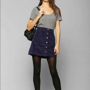 UO Button Up Navy Skirt