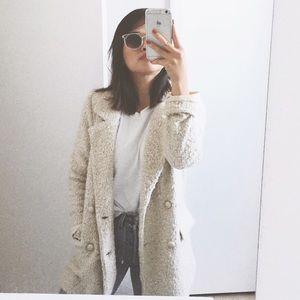 Beige Long Boucle Coat / Peacoat