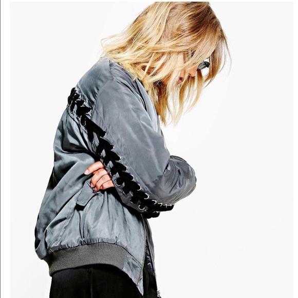 62e608f88 Boohoo lace back bomber jacket NWT