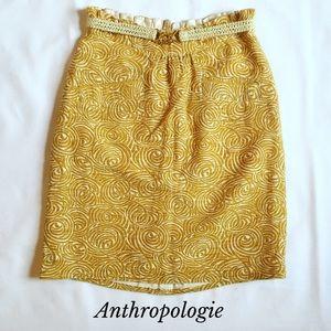 Anthropologie Elevenses Cream Yellow Pencil Skirt
