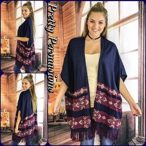 Pretty Persuasions Sweaters - SALE Fringe Hem Open Front Slouchy Tribal Cardigan