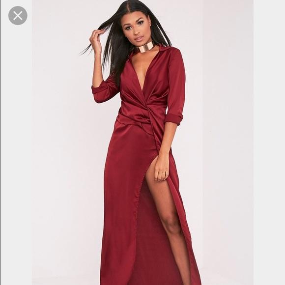 f6be1a24609 Burgundy satin twist wrap maxi dress