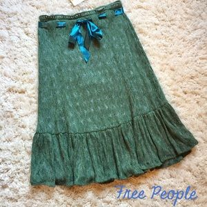 NEW Free People Green Blue Midi Ribbon Skirt