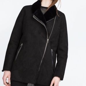 Faux Fur lined faux suede Moto jacket
