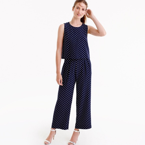 b46b2cd2a866 Navy blue with white polka dot jumpsuit!