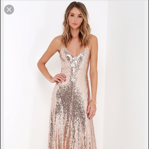 b7856e9236 Lulu's Dresses & Skirts - Lulu's CHARISMATIC SPARK GOLD SEQUIN MAXI DRESS