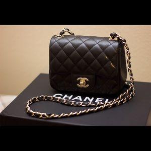 CHANEL Handbags - NEW Chanel Mini Flap Bag Black Caviar Aged Gold HW