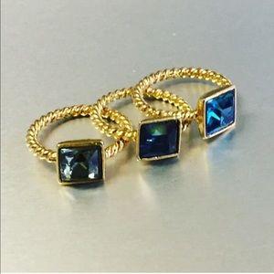Bold Swarovski square solitaire ring, Blue Zircon